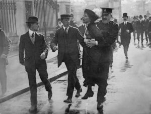 Emmeline Pankhurst - British suffragette arrested while campaigning for women's rights.